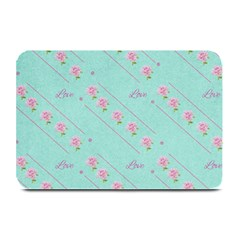 Love Flower Blue Background Texture Plate Mats by Amaryn4rt