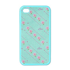 Love Flower Blue Background Texture Apple Iphone 4 Case (color) by Amaryn4rt