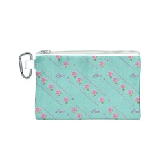 Love Flower Blue Background Texture Canvas Cosmetic Bag (s)
