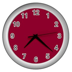 Deep Red Wall Clocks (silver)  by Valentinaart