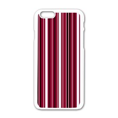 Red Lines Apple Iphone 6/6s White Enamel Case by Valentinaart