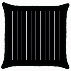 Black And White Lines Throw Pillow Case (black) by Valentinaart