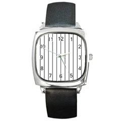 White And Black Lines Square Metal Watch by Valentinaart