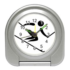Archery Skiing Pictogram Travel Alarm Clocks by abbeyz71