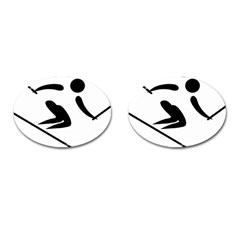 Archery Skiing Pictogram Cufflinks (oval) by abbeyz71