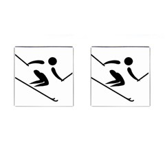 Archery Skiing Pictogram Cufflinks (square) by abbeyz71