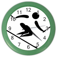 Archery Skiing Pictogram Color Wall Clocks by abbeyz71