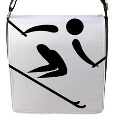 Archery Skiing Pictogram Flap Messenger Bag (s) by abbeyz71