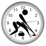 Curling Pictogram  Wall Clocks (Silver)  Front