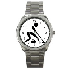 Curling Pictogram  Sport Metal Watch by abbeyz71