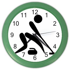 Curling Pictogram  Color Wall Clocks by abbeyz71