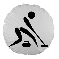 Curling Pictogram  Large 18  Premium Flano Round Cushions by abbeyz71