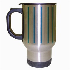 Blue Lines Travel Mug (silver Gray) by Valentinaart
