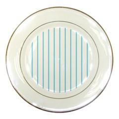 Blue Lines Porcelain Plates by Valentinaart