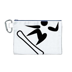 Snowboarding Pictogram  Canvas Cosmetic Bag (m) by abbeyz71