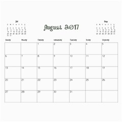 2017 Cal1 By Annie   Wall Calendar 11  X 8 5  (12 Months)   Xsmknjs9wpo2   Www Artscow Com Aug 2017