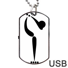 Artistic Roller Skating Pictogram Dog Tag Usb Flash (one Side) by abbeyz71