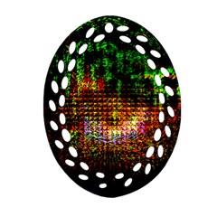 Radar Kaleidoscope Pattern Ornament (oval Filigree) by Amaryn4rt