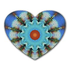 Pattern Blue Brown Background Heart Mousepads