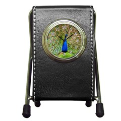 Peacock Animal Photography Beautiful Pen Holder Desk Clocks by Amaryn4rt