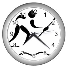 Assault Course Pictogram Wall Clocks (silver)  by abbeyz71