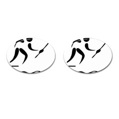 Assault Course Pictogram Cufflinks (oval) by abbeyz71