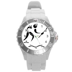 Assault Course Pictogram Round Plastic Sport Watch (l) by abbeyz71