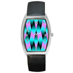 Shiny Decorative Geometric Aqua Barrel Style Metal Watch by Amaryn4rt