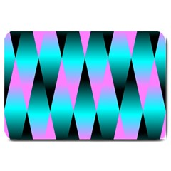 Shiny Decorative Geometric Aqua Large Doormat