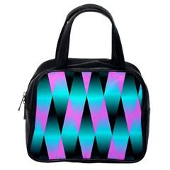 Shiny Decorative Geometric Aqua Classic Handbags (one Side) by Amaryn4rt