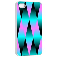Shiny Decorative Geometric Aqua Apple Iphone 4/4s Seamless Case (white) by Amaryn4rt