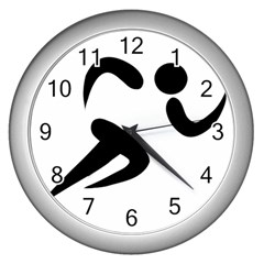 Athletics Pictogram Wall Clocks (silver)  by abbeyz71