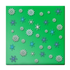 Snowflakes Winter Christmas Overlay Tile Coasters by Amaryn4rt