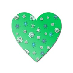 Snowflakes Winter Christmas Overlay Heart Magnet by Amaryn4rt