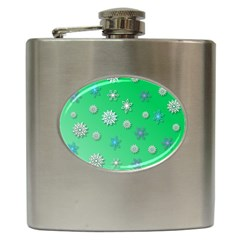 Snowflakes Winter Christmas Overlay Hip Flask (6 Oz) by Amaryn4rt
