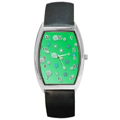 Snowflakes Winter Christmas Overlay Barrel Style Metal Watch by Amaryn4rt