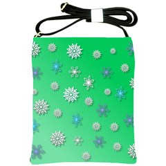 Snowflakes Winter Christmas Overlay Shoulder Sling Bags by Amaryn4rt