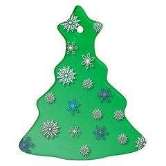 Snowflakes Winter Christmas Overlay Christmas Tree Ornament (two Sides) by Amaryn4rt