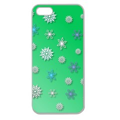 Snowflakes Winter Christmas Overlay Apple Seamless Iphone 5 Case (clear)