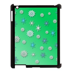 Snowflakes Winter Christmas Overlay Apple Ipad 3/4 Case (black) by Amaryn4rt