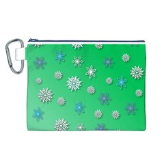 Snowflakes Winter Christmas Overlay Canvas Cosmetic Bag (l)