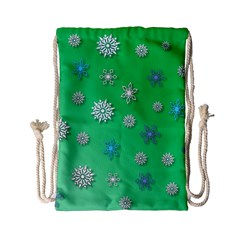 Snowflakes Winter Christmas Overlay Drawstring Bag (small) by Amaryn4rt