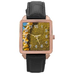 Sunflower Bright Close Up Color Disk Florets Rose Gold Leather Watch