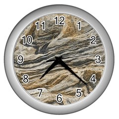 Rock Texture Background Stone Wall Clocks (silver)  by Amaryn4rt