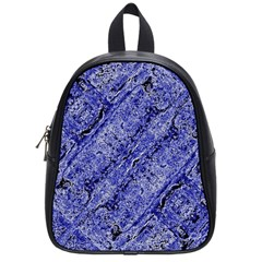Texture Blue Neon Brick Diagonal School Bags (small)