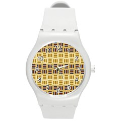 Textile Texture Fabric Material Round Plastic Sport Watch (m) by Amaryn4rt