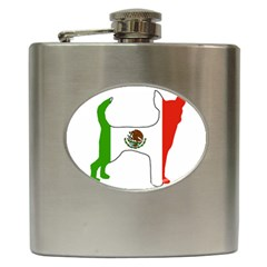 Chihuahua Mexico Flag Silhouette Hip Flask (6 oz) by TailWags