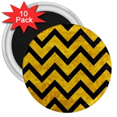 Chevron9 Black Marble & Yellow Marble (r) 3  Magnet (10 Pack) by trendistuff