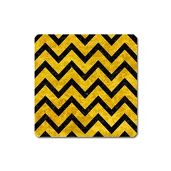 Chevron9 Black Marble & Yellow Marble (r) Magnet (square) by trendistuff