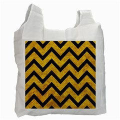 Chevron9 Black Marble & Yellow Marble (r) Recycle Bag (two Side) by trendistuff